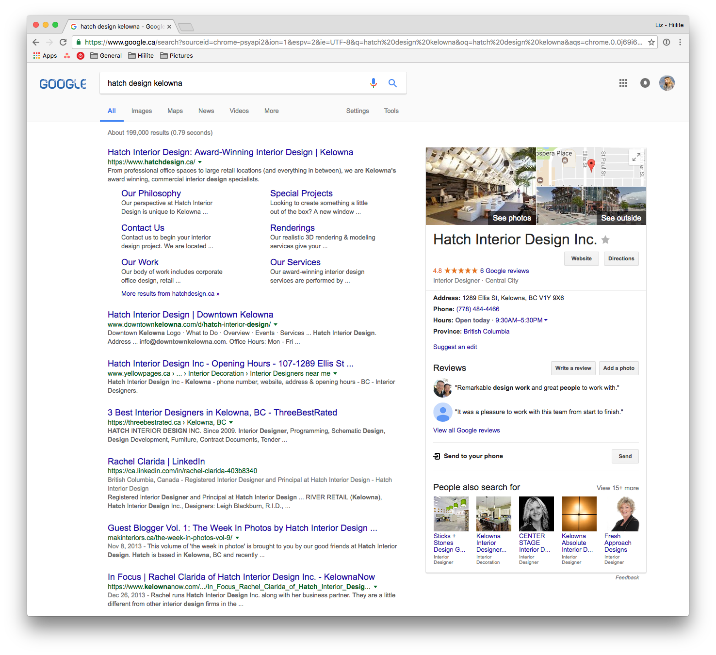 Hiilite Web Design Marketing Google Reviews and Map Results