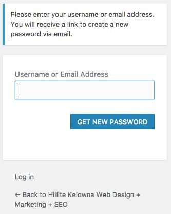 Hiilite Marketing Website Design Kelowna Password Reset