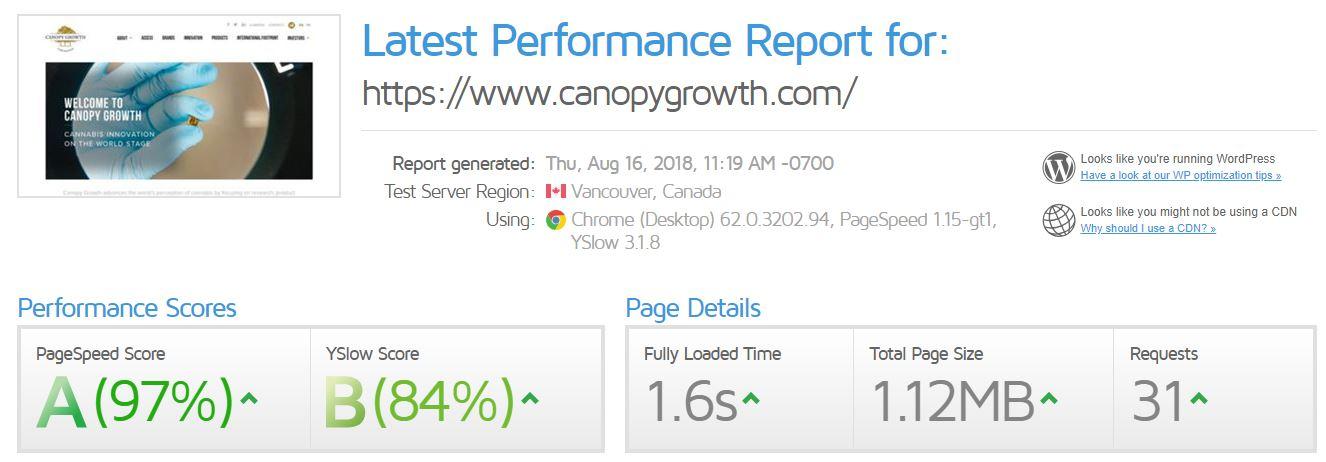 calgary seo company site speed report