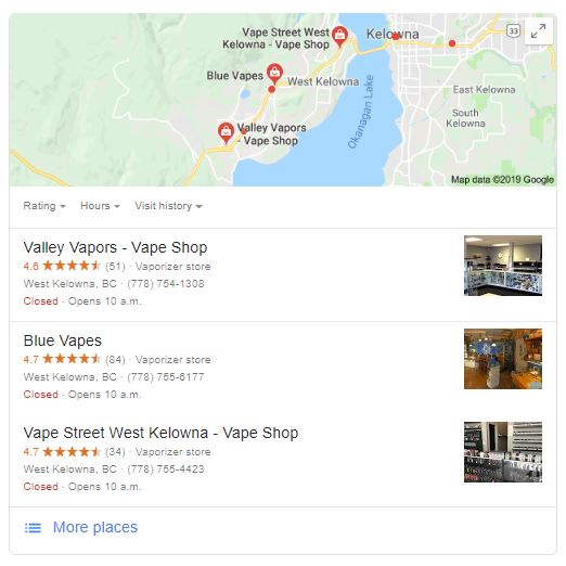 kelowna vape shop google my business listing