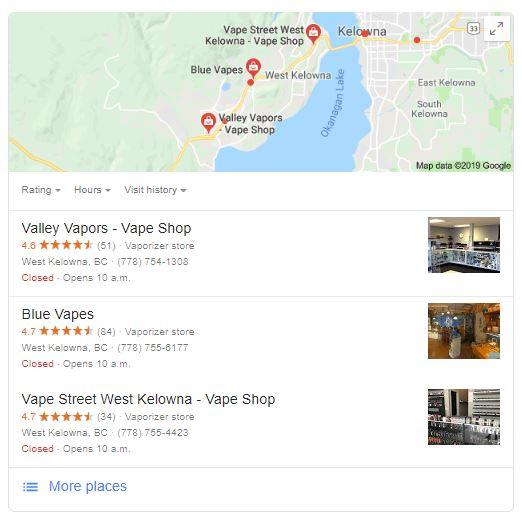 kelowna vape shop google my business listing
