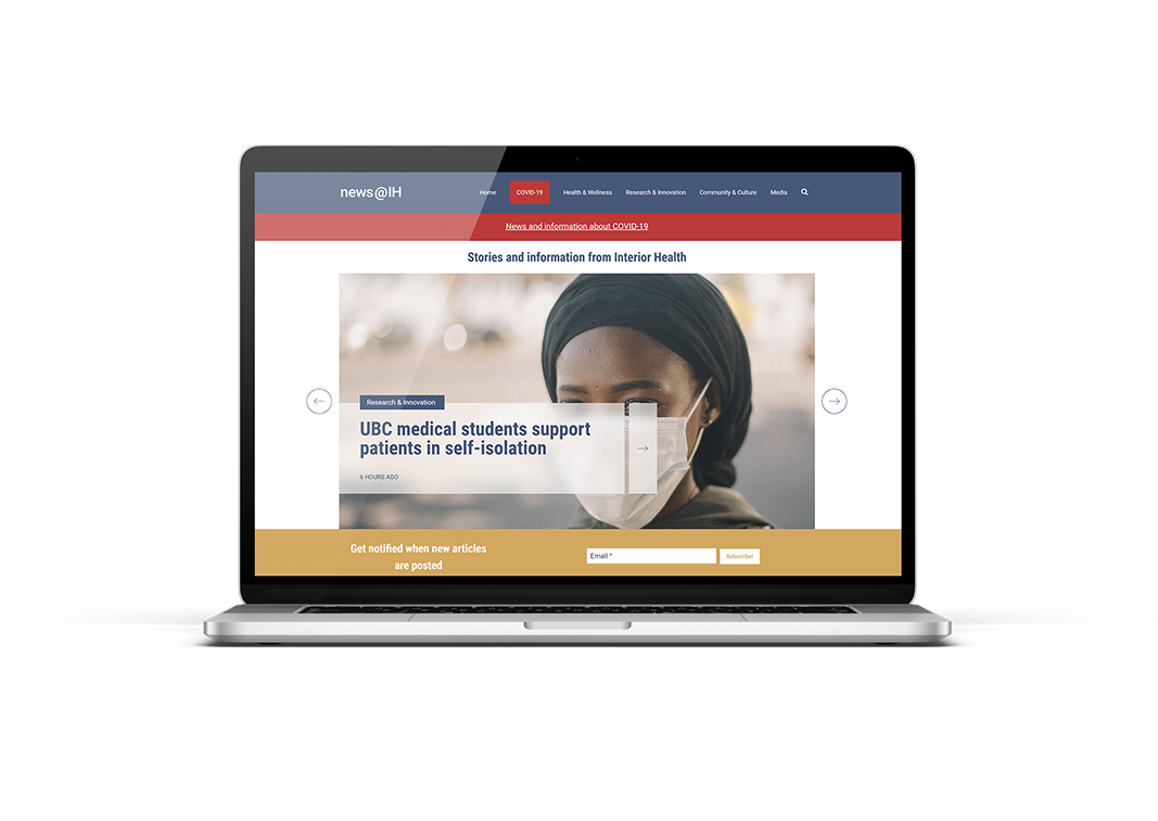 healthcare organization marketing new website on laptop