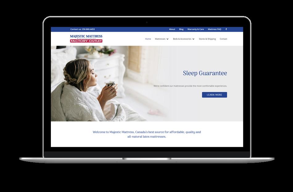 website design for furniture retail company majestic mattress