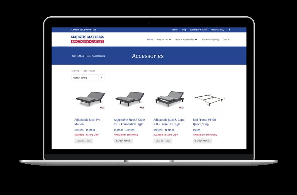 ecommerce website design for furniture sales company