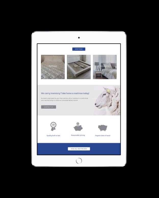 retail marketing website on ipad