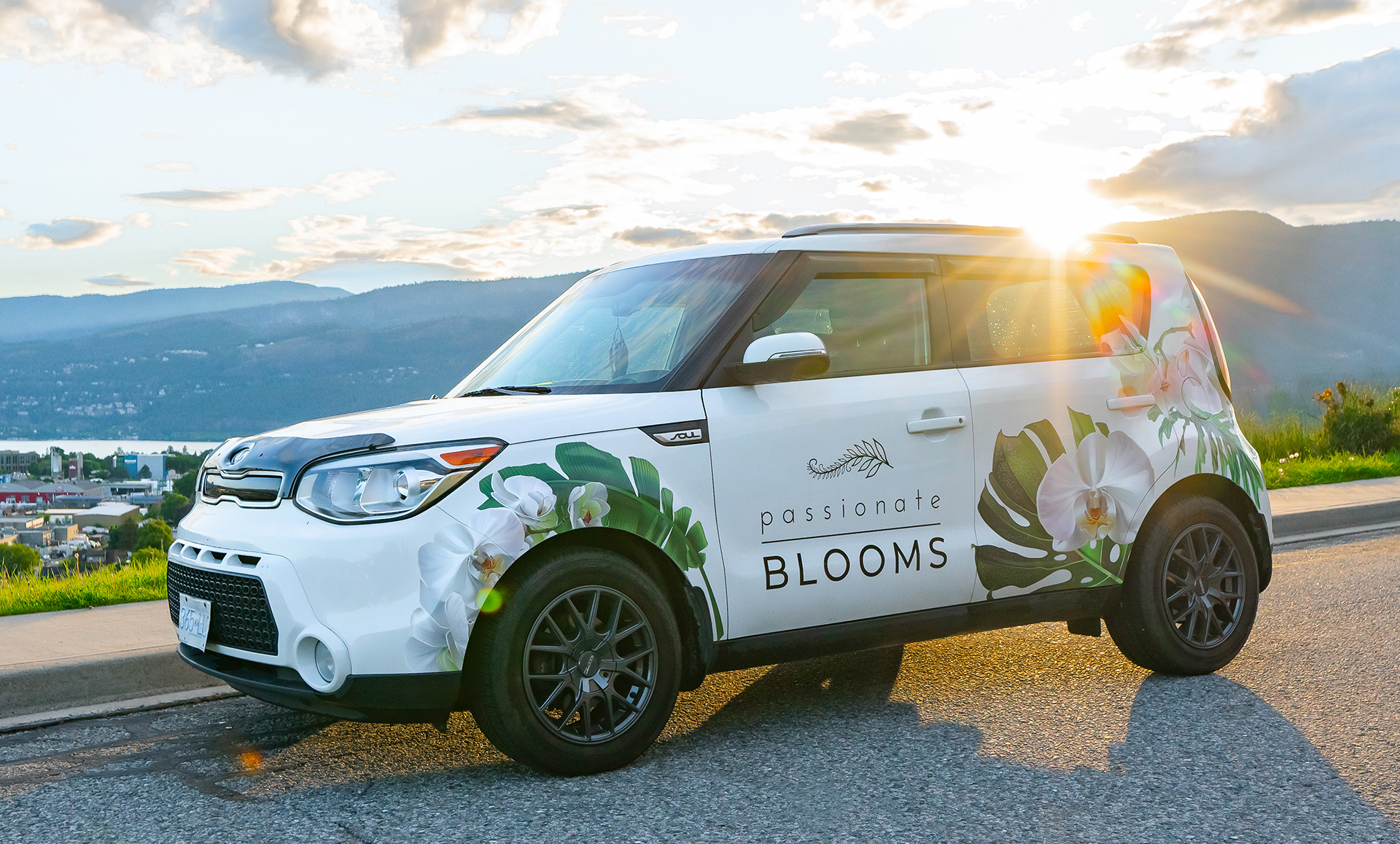 retail marketing passionate blooms vehicle wrap