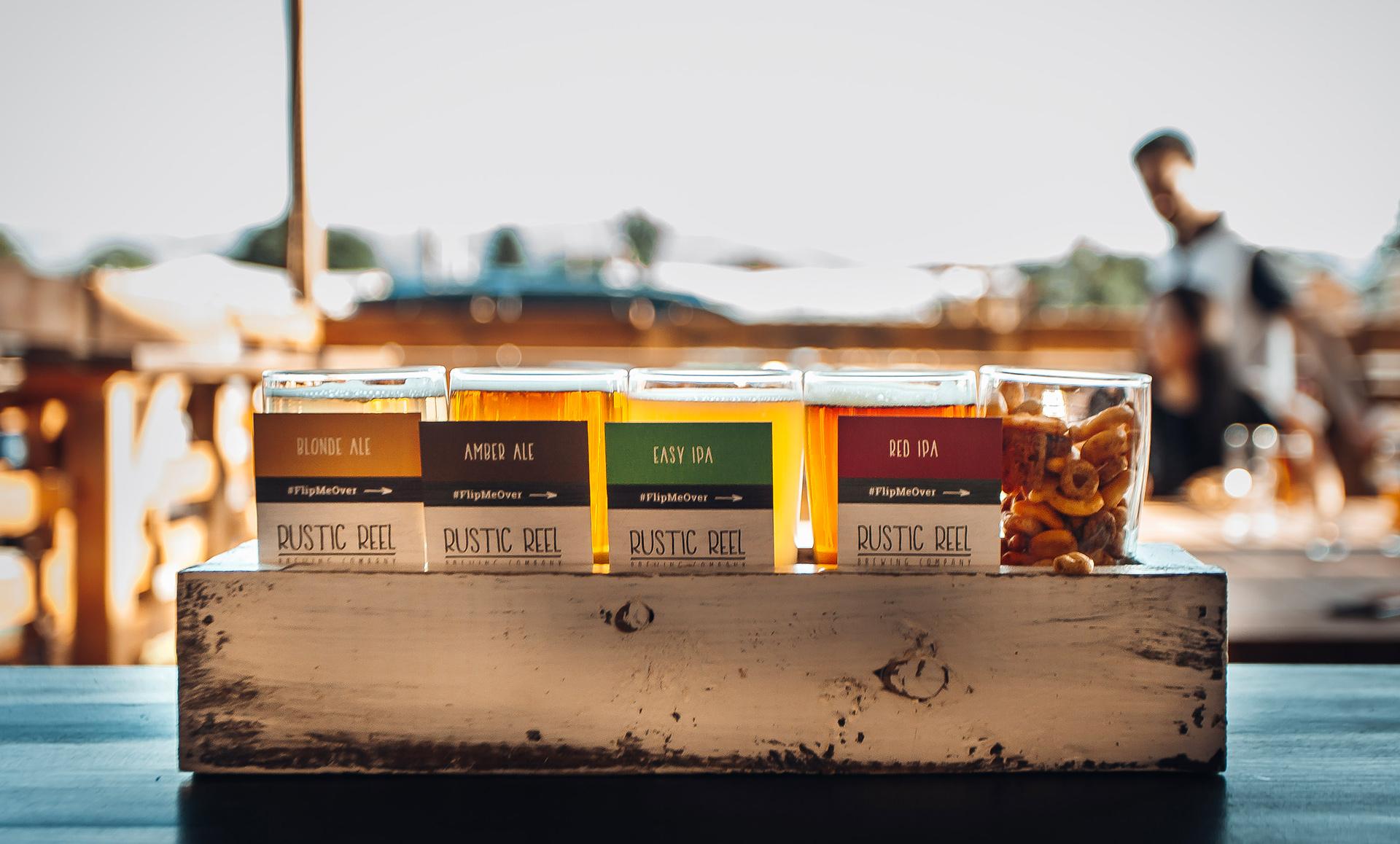 rustic reel brewery marketing beer samples