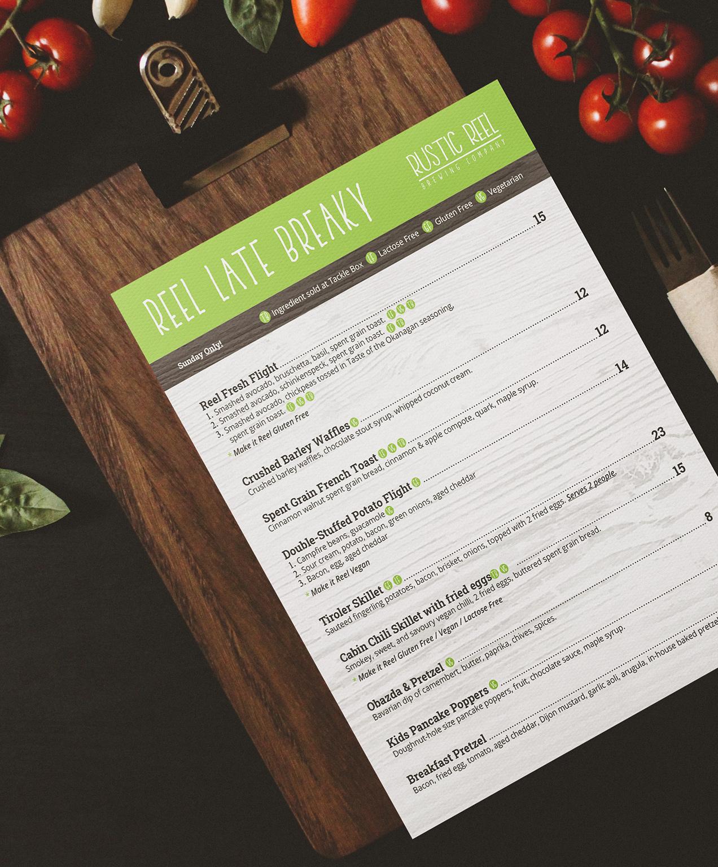 kelowna brewery marketing menu deisgn