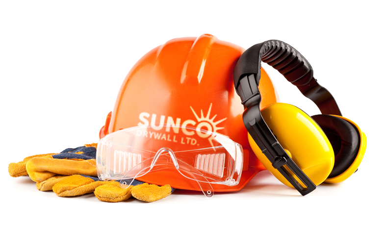 drywall trade construction company sunco hardhat