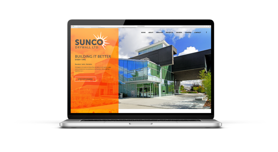 drywall construction trade marketing sunco website