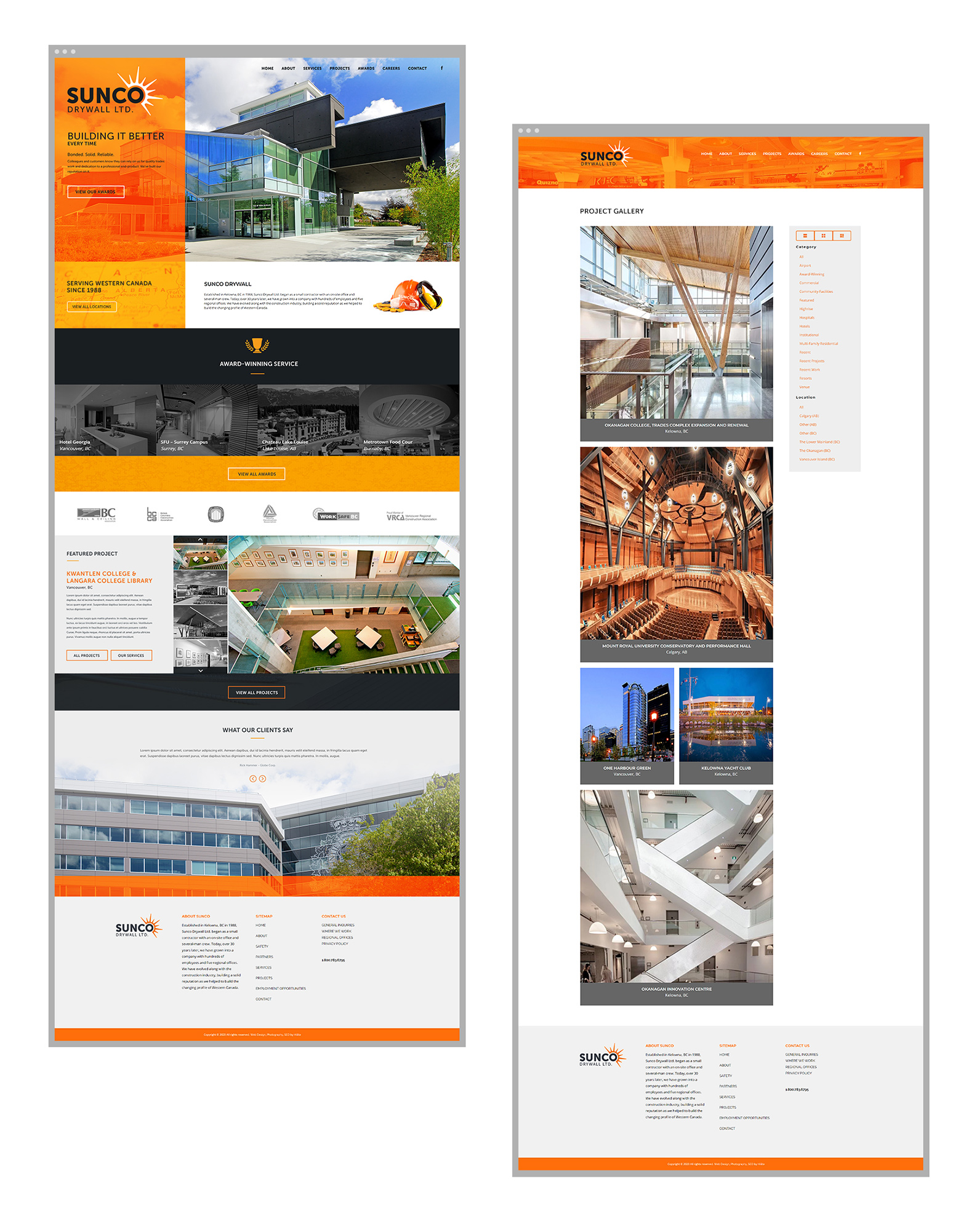 website design for construction company kelowna sunco web pages