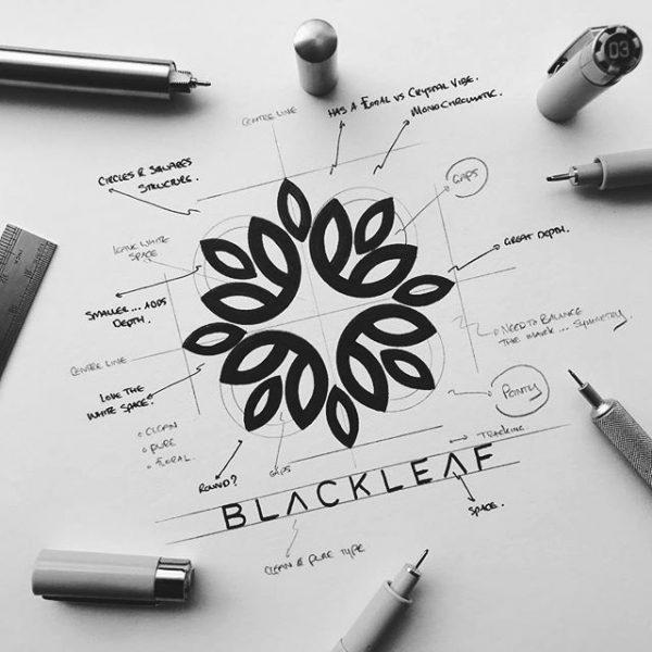Process shot of Blackleaf Logomark by James Martin