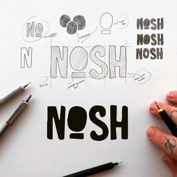 Process shot of Nosh Logomark by James Martin