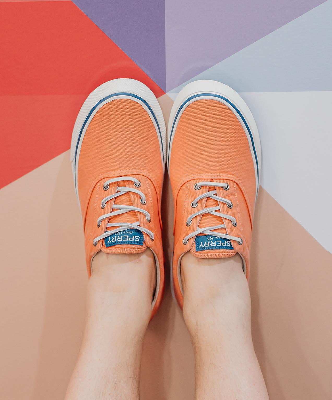 shoe store marketing orange sperry
